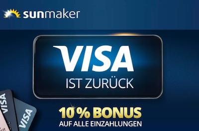 Sunmaker VISA Einzahlung Bonus