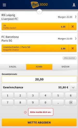 Champions League Achtelfinal Kombiwette Bet3000
