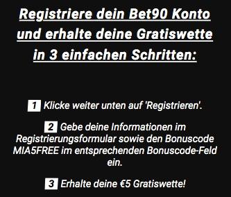 Anleitung 5€bet90 Freebet