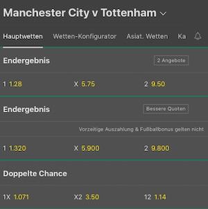 Bet365 Man City Tottenham Quoten