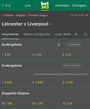Bet365 Leicester Liverpool Quoten