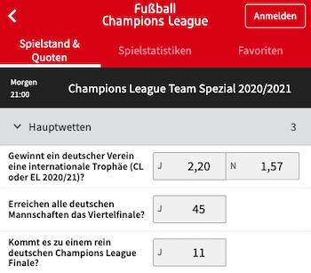 Team Spezialwetten Tipico Champions League