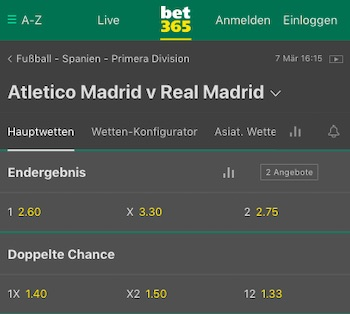Atletico Real Quoten Bet365