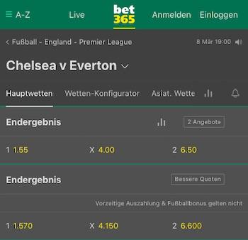 Chelsea Everton Quoten Bet365