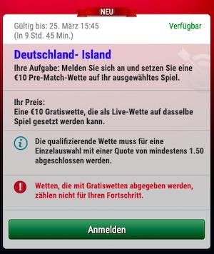 Sky Bet Deutschland Island Freiwette