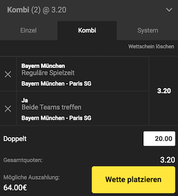 Unibet Bayern PSG Wett Tipp