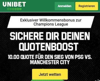 Unibet Quoten Boost PSG - City
