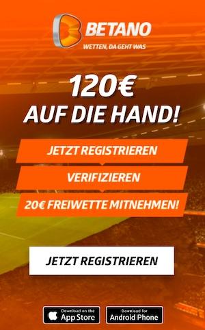 Betano 20 euro Freiwette plus Bonus