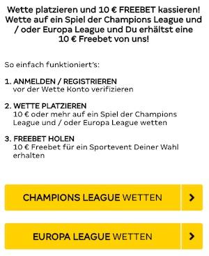 Merkur Sports FreeBet Champions League