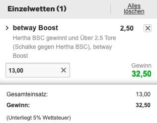 Schalke Hertha Boost Betway