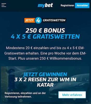 MyBet Euro 2021 Gratiswette + Bonus