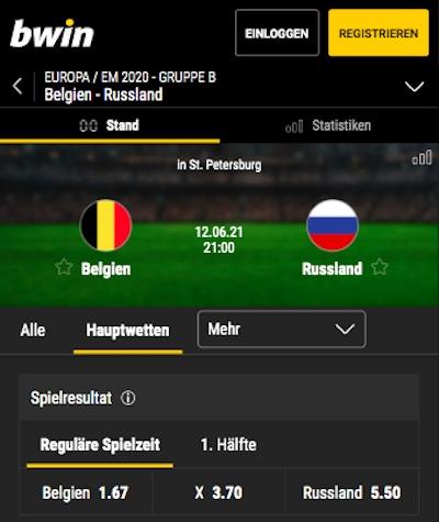 1. Gruppenspiel Belgien Russland