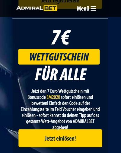 7 Euro EM Wettgutschein Admiral Bet