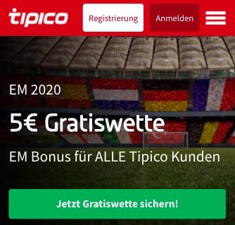 5€Freebet Tipico EM 2021