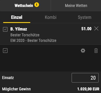 Yilmaz EM Torschützenkönig Quote