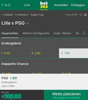 Lille PSG Quoten Bet365