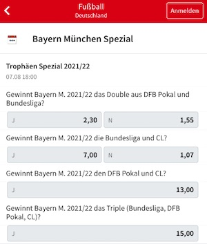 Bayern Spezial Quoten 2021/22