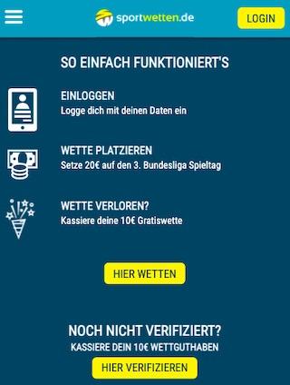 Sportwetten.de Gratiswette 10€ Bundesliga