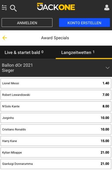 Ballon d´Or 2021 Quoten Jackone