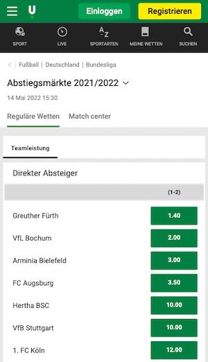 Bundesliga Abstieg Quoten Unibet