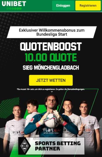Unibet Gladbach Quote 10.00 vs Bayern