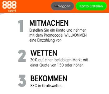 888sport Neukunden 88€ Gratis