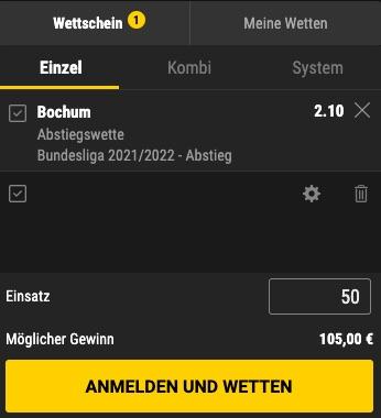 Bochum Abstieg Quote