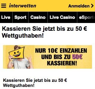 Interwetten 50 Euro Wettguthaben